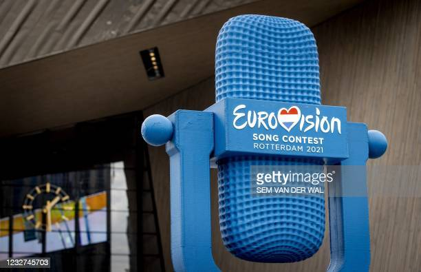 Four-metre high 3D-printed Eurovision trophy made from recycled PET material from the Rotterdam waters, is displayed at the Central Station, ahead of...