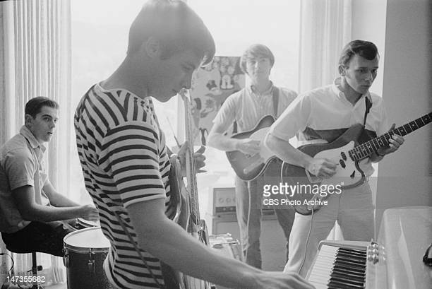 A fourpiece combo band called the Greefs featured on My Three Sons Band members from left Cubby O'Brian on drums Don Grady Wiley Rinaldi and Gil...