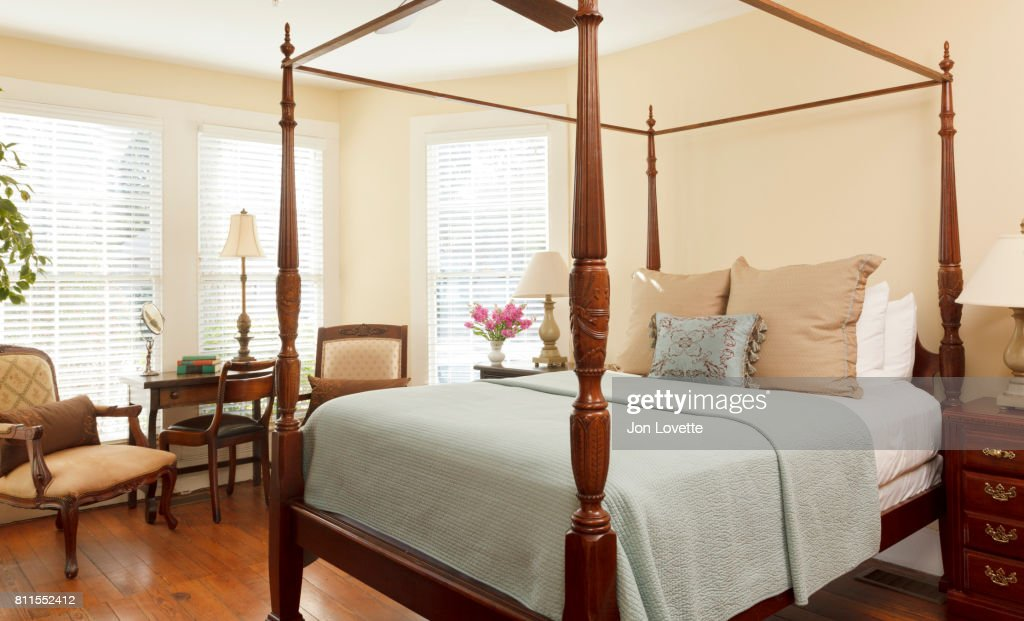 Fourposter Bed In Lightfilled Bedroom High Res Stock Photo Getty Images