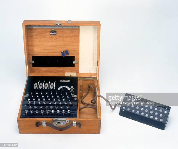 A fourrotor German Enigma cypher machine with a second operator display made during World War II This type of machine devised by the German Navy in...