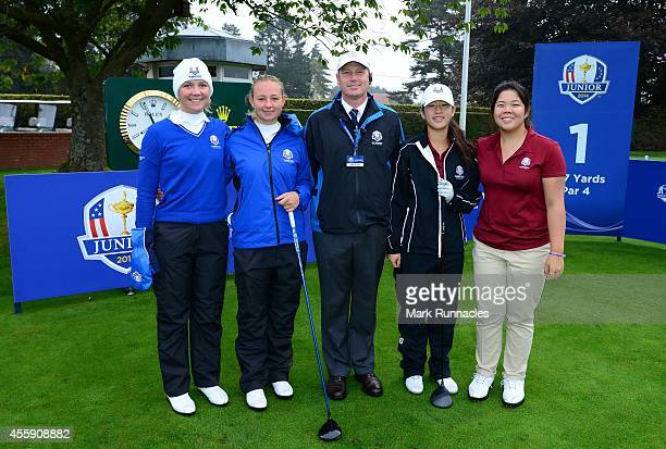 Foursome group photograph Team Europe and Team USA pose on the first tee Linnea Strom Emily Pedersen Referee Richard Heath Andrea Lee and Bethany Wo...