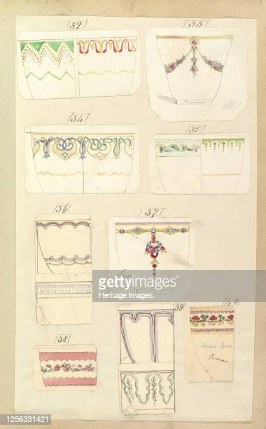 Fourteen Designs for Decorated Cups including Camden Sevigne and Persian Patterns 1852 Artist Alfred Crowquill