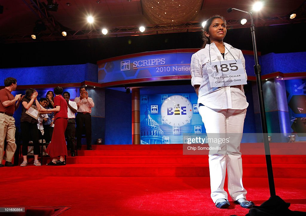 Fourteen-year-old Anamika Veeramani of Cleveland, Ohio, reacts to winning the Scripps National Spelling Bee June 4, 2010 in Washington, DC. Veeramani spelled 'stromuhr' to win the competition.