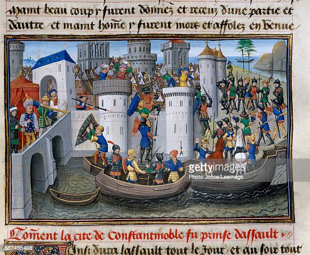 view of the conquest of Constantinople by the crusaders in 12031204 Miniature from the Abbreviated chronicle written by David Aubert 15th century...