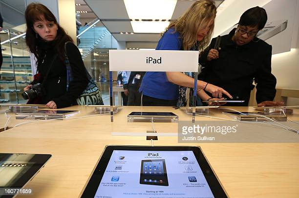 Fourth generation Apple iPads are seen on display at an Apple store on February 5 2013 in San Francisco California The new 128GB Apple iPad 4 went on...
