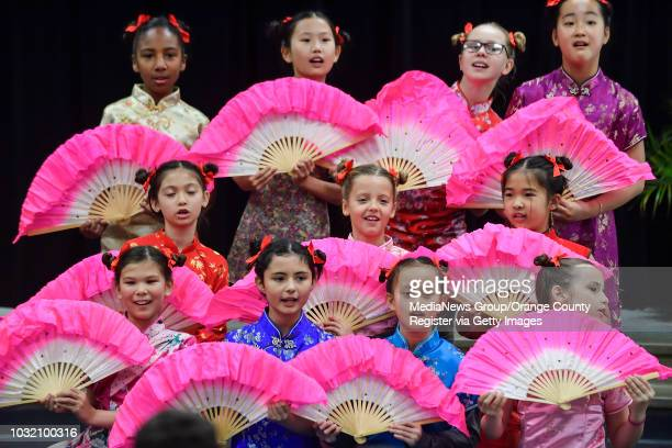 Fourth graders perform during a Chinese New Year celebration at Marian Bergeson Elementary School in Laguna Niguel, California, on Friday, Feb 23,...