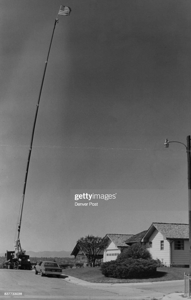 Fourth Of July - 1970-1979 6241 Allison St Arvada Home of Randy Sorensen, Flag on top of a 115ft. Boom truck Credit: Denver Post