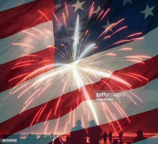 Fourth of July celebration, fireworks and flag