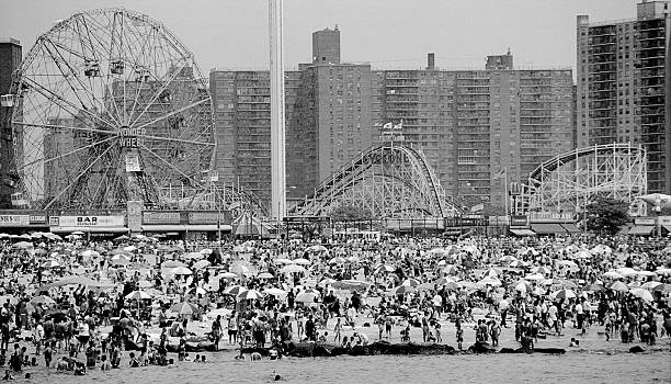 Fourth of July crowd fills the beach at Coney Island.