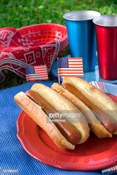 fourth of july, labor & memorial day hot dog picnic food - memorial day dog stock pictures, royalty-free photos & images