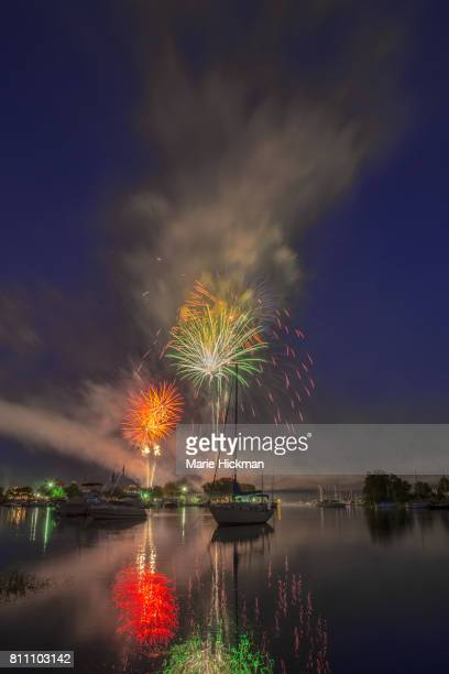 Fourth of July local fireworks over Mamaroneck Harbor, New York