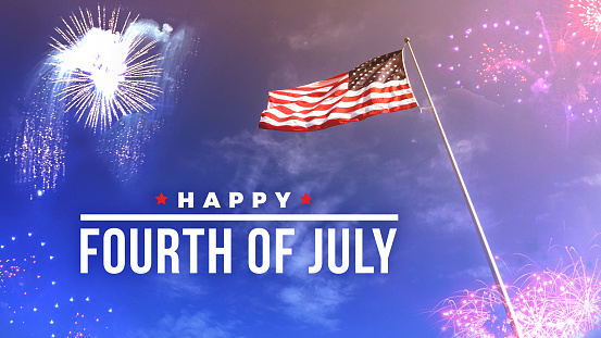 Fourth of July Text Over Fireworks and American Flag 971212596