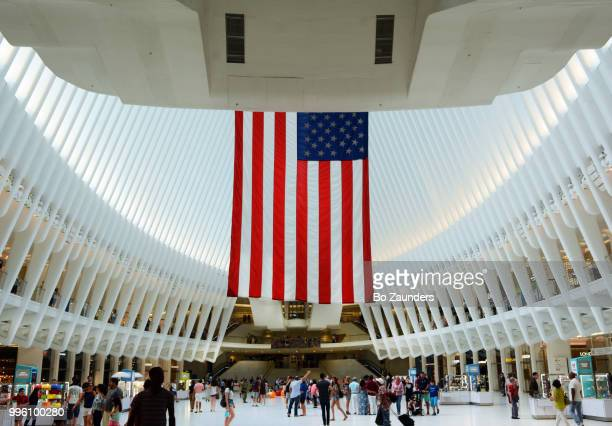 Fourth of July view of Interior of Oculus, the new World Trade Center Transportation Hub, in NYC