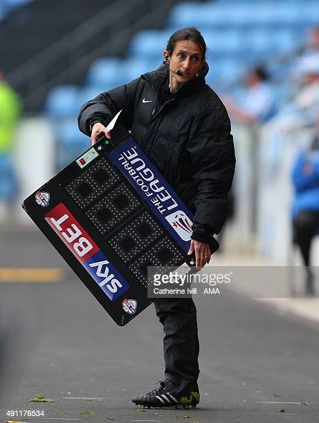 Fourth official Amy Fearn with the substitutes board during the Sky Bet League One match between Coventry City and Shrewsbury Town at Ricoh Arena on...