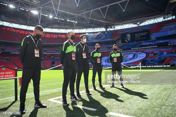 Fourth official Andre Marriner, Referee Mike Dean, assistant referees Ian Hussin and Daniel Robathan and Reserve assistant, Constantine Hatzidakis...