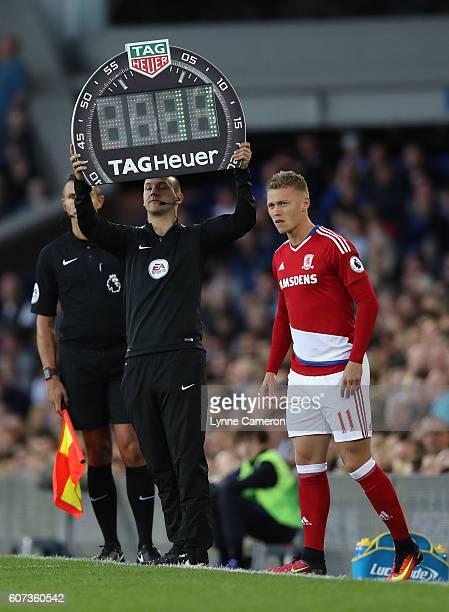 Fourth Official Bobby Madley uses the TAG Heuer board during the Premier League match between Everton and Middlesbrough at Goodison Park on September...