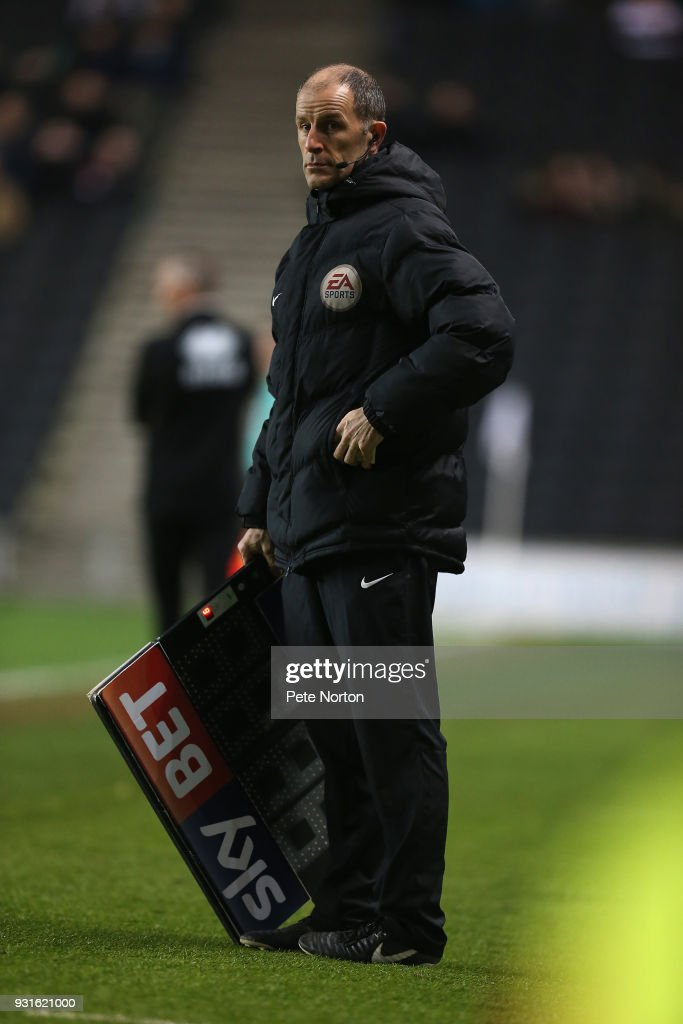 Fourth Official Graham Horwood stands with the substitute board during the Sky Bet League One match between Milton Keynes Dons and Rotherham United at StadiumMK on March 13, 2018 in Milton Keynes, England.