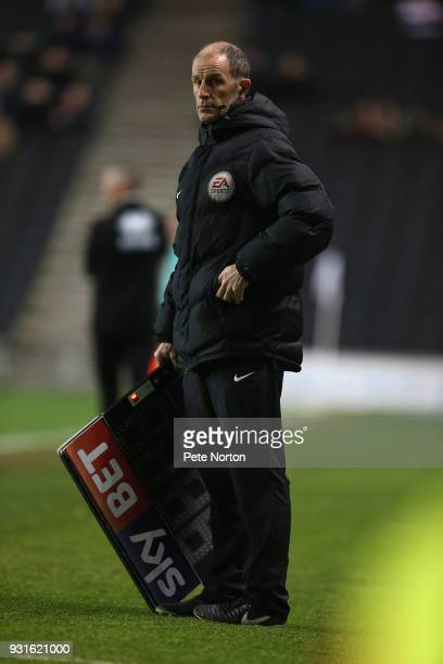Fourth Official Graham Horwood stands with the substitute board during the Sky Bet League One match between Milton Keynes Dons and Rotherham United...