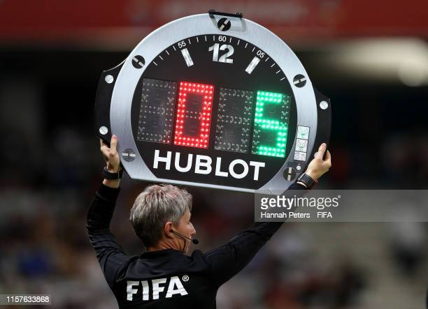 Fourth Official Jana Adamkova uses the Hublot LED board to indicate a substitution during the 2019 FIFA Women's World Cup France Round Of 16 match...