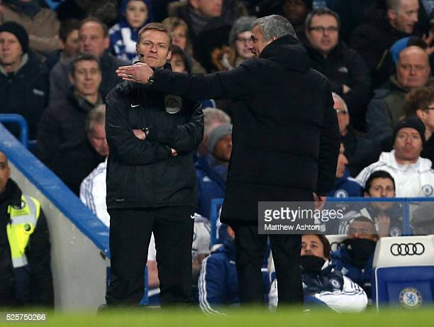 Fourth Official Mike Jones stays calm as Jose Mourinho the head coach / manager of Chelsea appeals to him