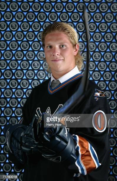 Fourth overall pick Nicklas Backstrom of the Washington Capitals poses for a portrait backstage at the 2006 NHL Draft held at General Motors Place on...