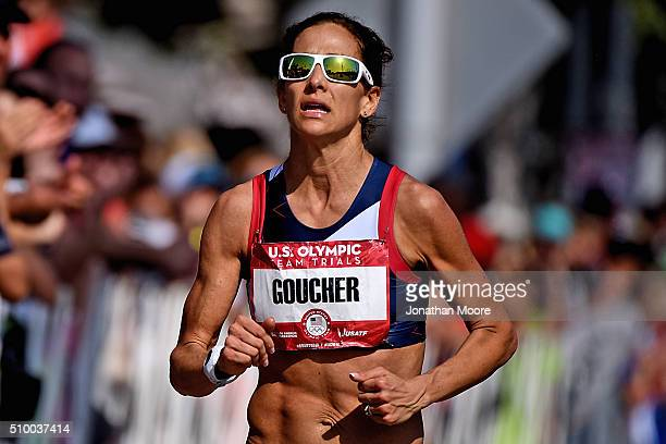 Fourth place runner for the women's race Kara Goucher approaches the finish during the US Olympic Marathon Team Trials on February 13 2016 in Los...