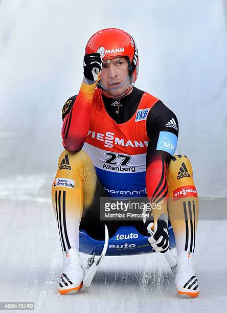 Fourth placed David Moeller of Germany reacts after crossing the finish line during the FIL Viessmann Luge World Cup Men event at the DKB Eiskanal...