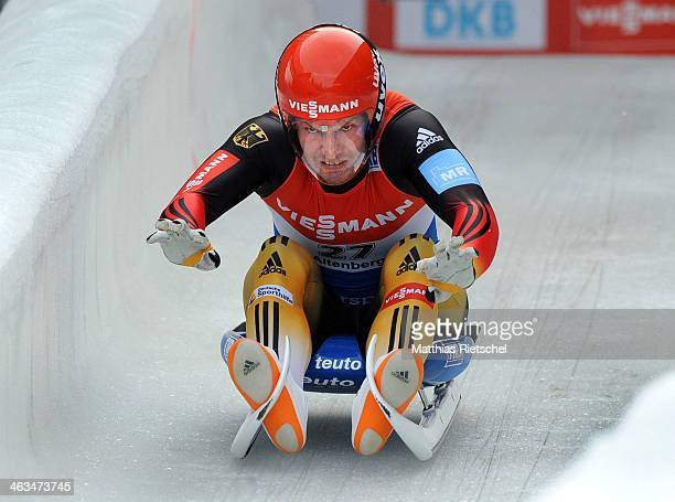 Fourth placed David Moeller of Germany starts to the first run during the FIL Viessmann Luge World Cup Men event at the DKB Eiskanal Rennschlitten...