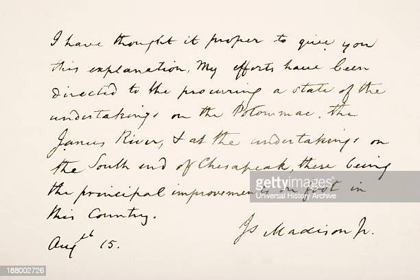 Fourth President Of The United States Of America Hand Writing Sample
