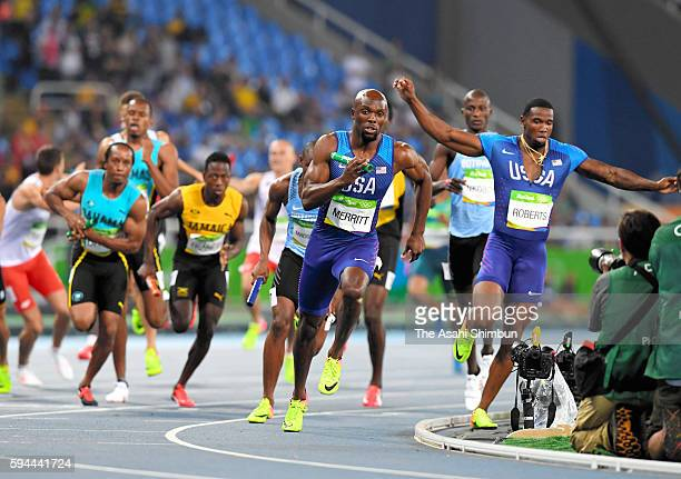 Fourth runner Lashawn Merritt of the United States competes in the Men's 4x400m Relay final on Day 15 of the Rio 2016 Olympic Games at the Olympic...