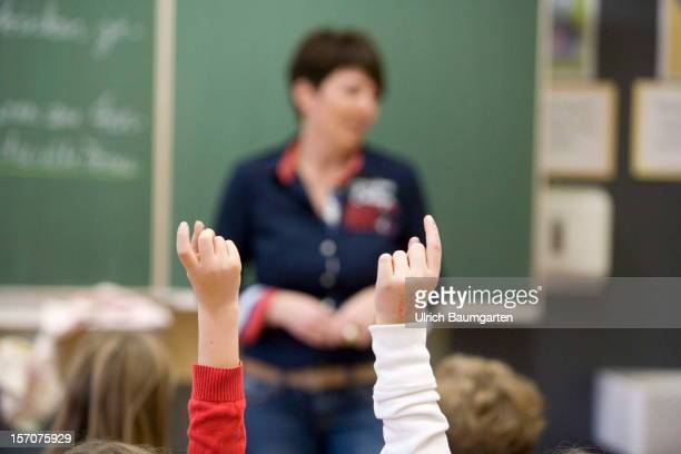 Fourthgrade children attend class in the elementary school at the Donatus elementary public school on November 27 2012 in Bonn Germany The German...