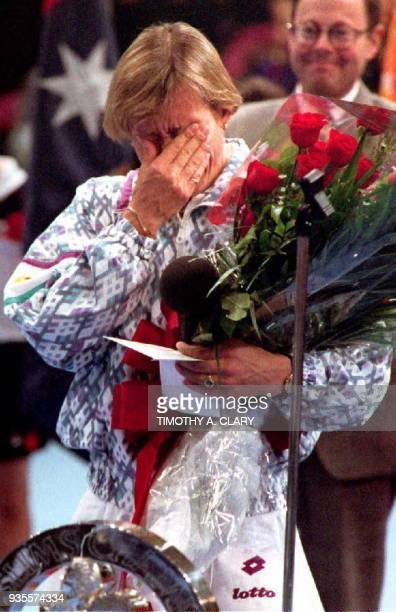 Fourthseeded Martina Navratilova of the US cries during the closing ceremonies after losing the Virginia Slims Tennis Championships 22 November in...