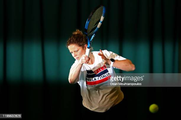 Fourtime Grand Slam singles champion and former WTA World No1 Kim Clijsters of Belgium is pictured training as she makes a comeback to professional...