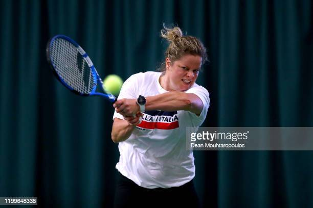 Four-time Grand Slam singles champion and former WTA World No.1 Kim Clijsters of Belgium is pictured training as she makes a comeback to professional...