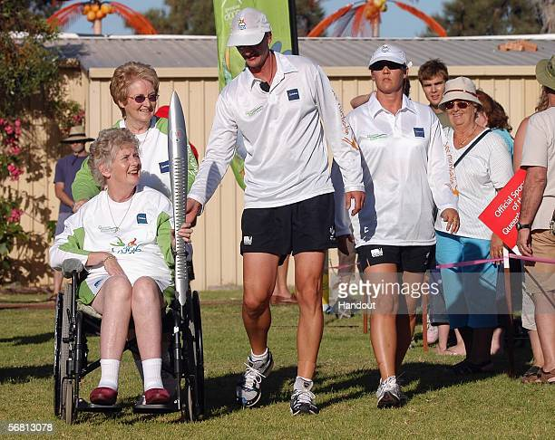 Fourtime Olympic gold medallist Betty Cuthbert arrives at Mandura Hall Park with the Melbourne 2006 Queen's Baton during the Melbourne 2006 Queen's...