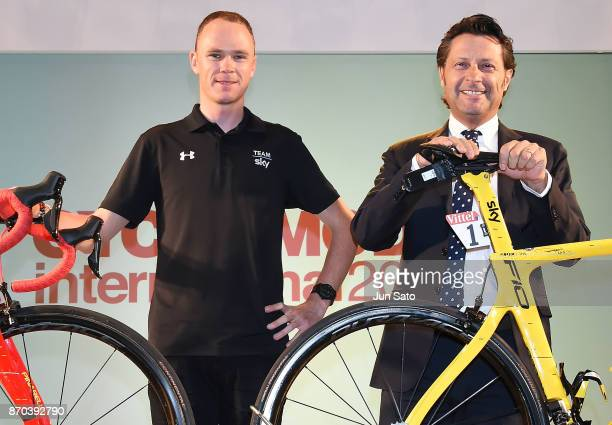 Fourtime Tour de France winner Chris Froome and Pinarello President Fausto Pinarello attend a talk event during Cycle Mode International at Makuhari...