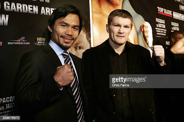 Fourtime world champion and pound for pound king Manny Pacman PacquiaoGeneral SantosPhilippines and Ricky The Hitman HattonManchesterEngland attend...