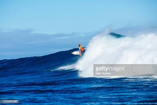 Four-time WSL Champion Caissa Moore of Hawaii surfing in Semifinal 2 of the Boost Mobile Margaret River Pro presented by Corona on May 10, 2021 in...