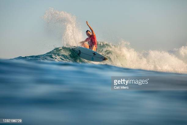 Four-time WSL Champion Carissa Moore of Hawaii surfing in Heat 3 of the Quarterfinals of the Rip Curl Newcastle Cup presented by Corona on April 9,...