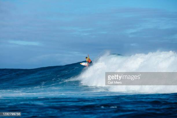 Four-time WSL Champion Carissa Moore of Hawaii surfing in Semifinal 2 of the Boost Mobile Margaret River Pro presented by Corona on May 10, 2021 in...