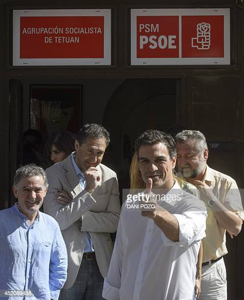 Fourtytwoyearold economist member of parliament and Candidate for the leadership of Spain's Socialist Party Pedro Sanchez gestures after voting at a...
