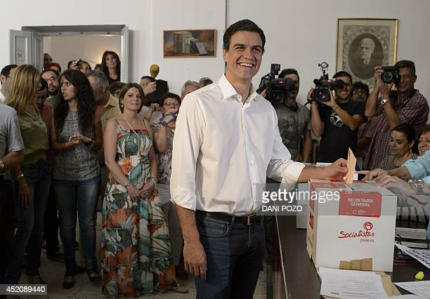 Fourtytwoyearold economist member of parliament and Candidate for the leadership of Spain's Socialist Party Pedro Sanchez casts his ballot at a...