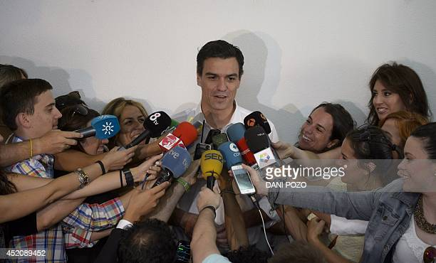 Fourtytwoyearold economist member of parliament and Candidate for the leadership of Spain's Socialist Party Pedro Sanchez answers to journalists...