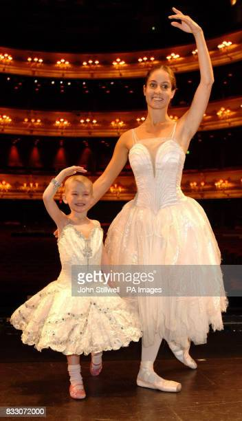 Fouryearold Angelina Vidler of Shoeburyness Essex practices with prima ballerina Francesca Filpi as she fulfils her dream of being a ballerina for...