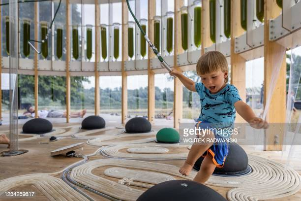 Four-year-old Felek plays in an AirBubble, an innovative playground providing clean air thanks to algae that absorb pollutants and carbon dioxide and...