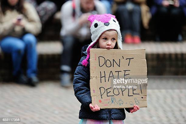 Fouryearold Olivia Eaton takes part in a rally against President Trump's immigration ban in Portland United States on January 30 2017 Protests have...