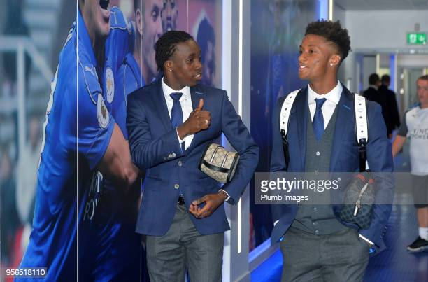 Fousseni Diabate and Demarai Gray arrive before the Premier League match between Leicester City and Arsenal at King Power Stadium on May 9th 2018 in...