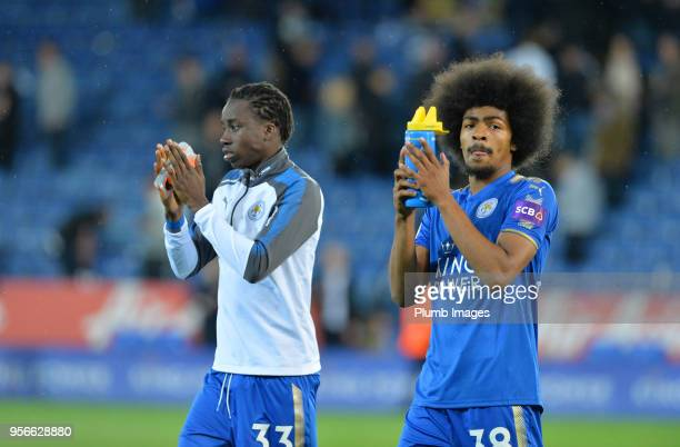 Fousseni Diabate and Hamza Choudhury of Leicester City after the Premier League match between Leicester City and Arsenal at King Power Stadium on May...