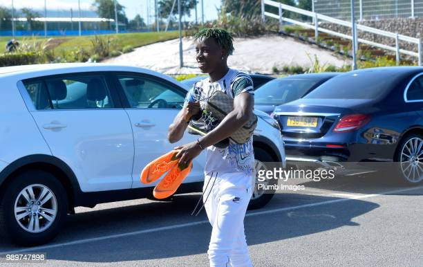 Fousseni Diabate arrives at Belvior Drive as Leicester City Players Return to PreSeason Training at Belvoir Drive Training Complex on July 02 2018 in...