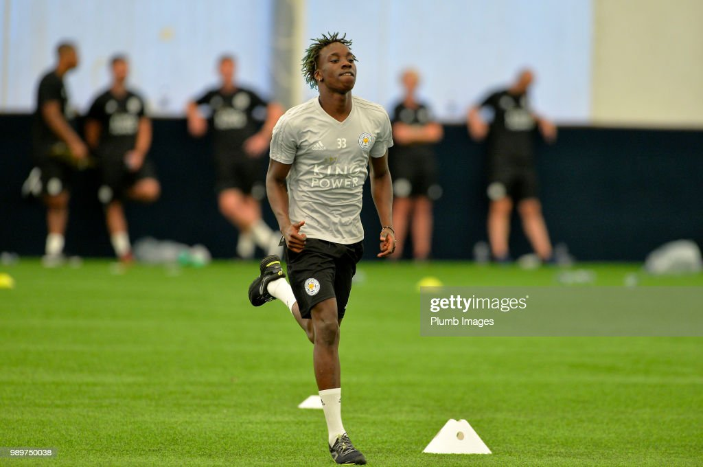Fousseni Diabate during training as Leicester City Players Return to Pre-Season Training at Belvoir Drive Training Complex on July 02 , 2018 in Leicester, United Kingdom.